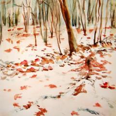 Erster Schnee im Herbstwald